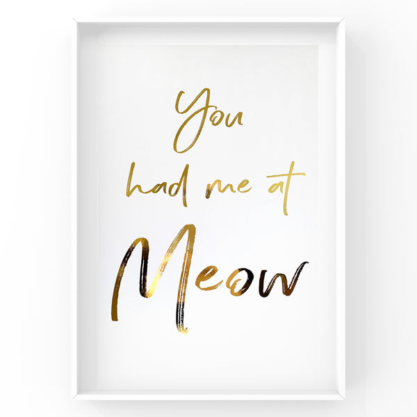 You had me at meow - Cat Wall Art Foil Prints
