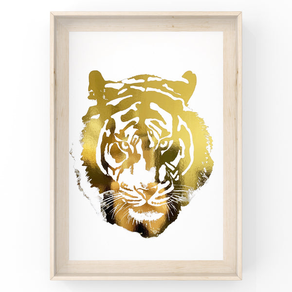Tiger Face Original Safari Animal Foil Print