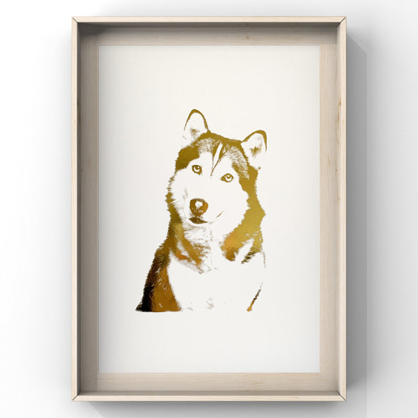 Husky Face - Dog - Foil Print