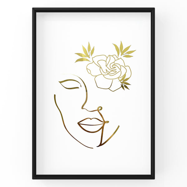 Girl with Flower Line Art - Foil Print