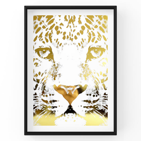 Cheetah Face Safari Animal Foil Print