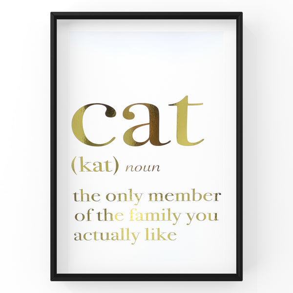 Cat (Kat) noun the only member of the family you actually like - Foil Print