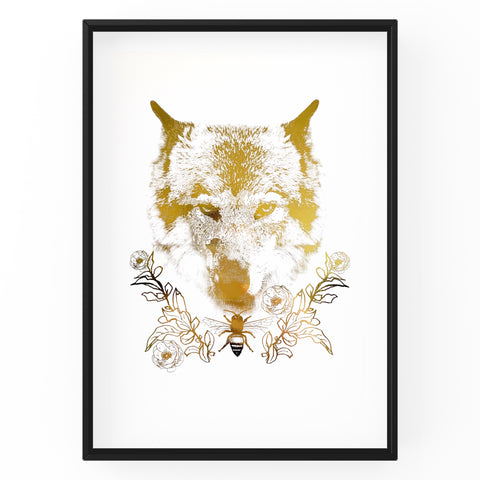 Wolf with Bee Wall Art Foil Prints