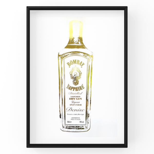 Customised & Personalised Gin Bottle - Bombay Sapphire - Foil Print