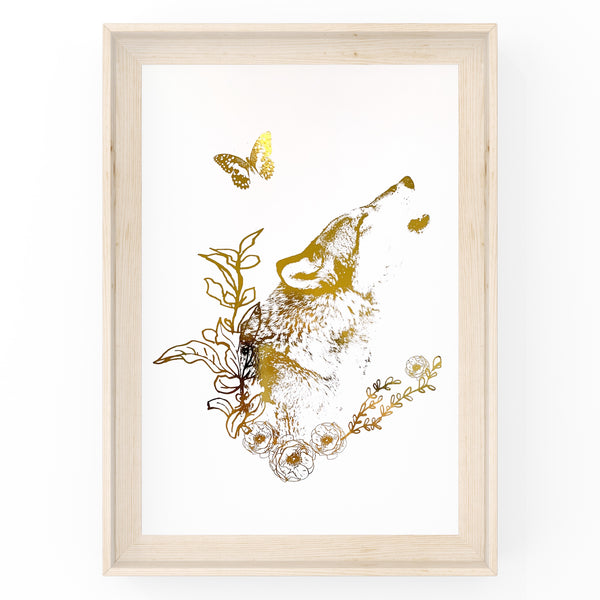 Wolf with Butterfly Wall Art Foil Prints