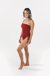 Luxe Drawstring One Piece Maroon
