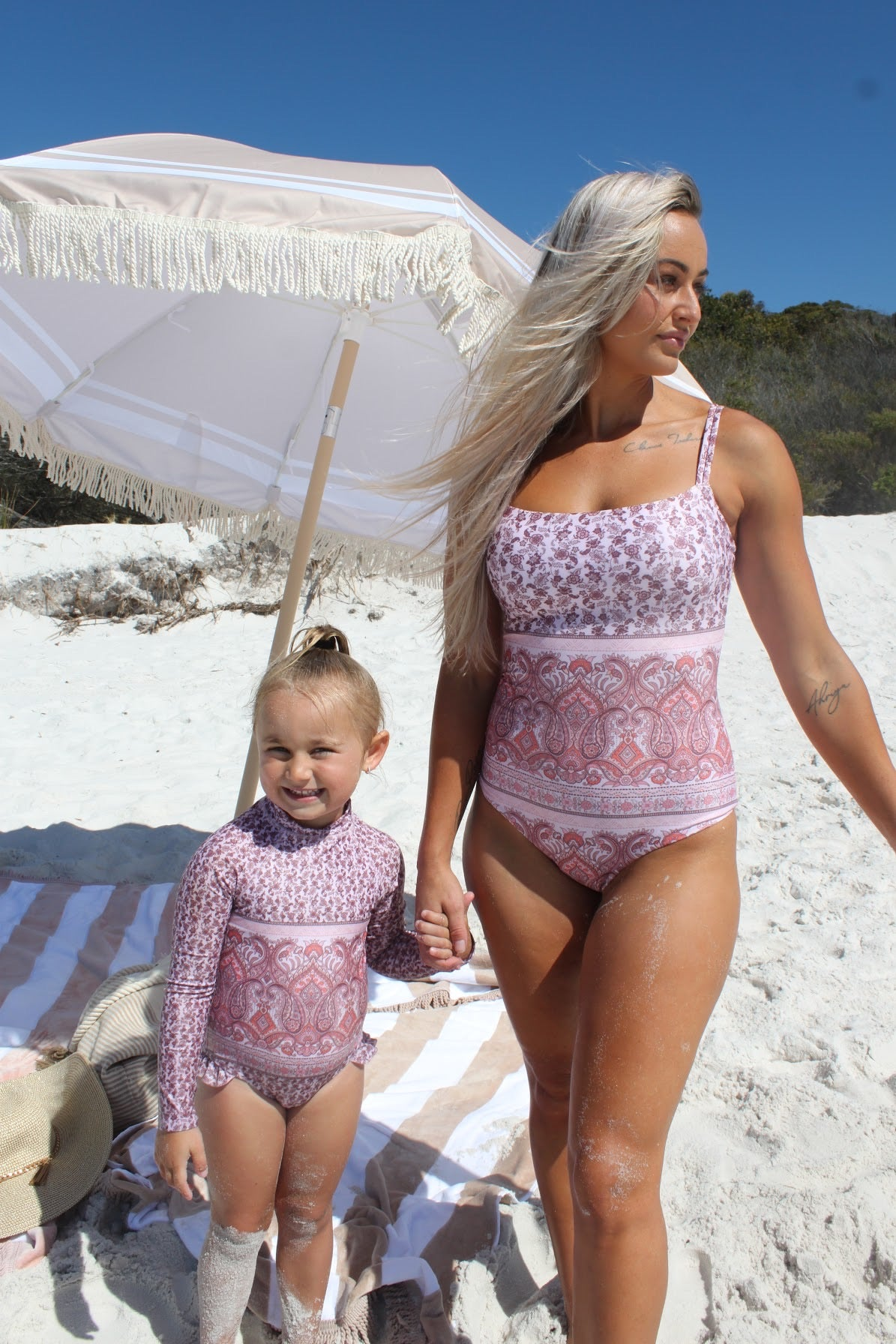 Pink Boho Straight Neck One Piece