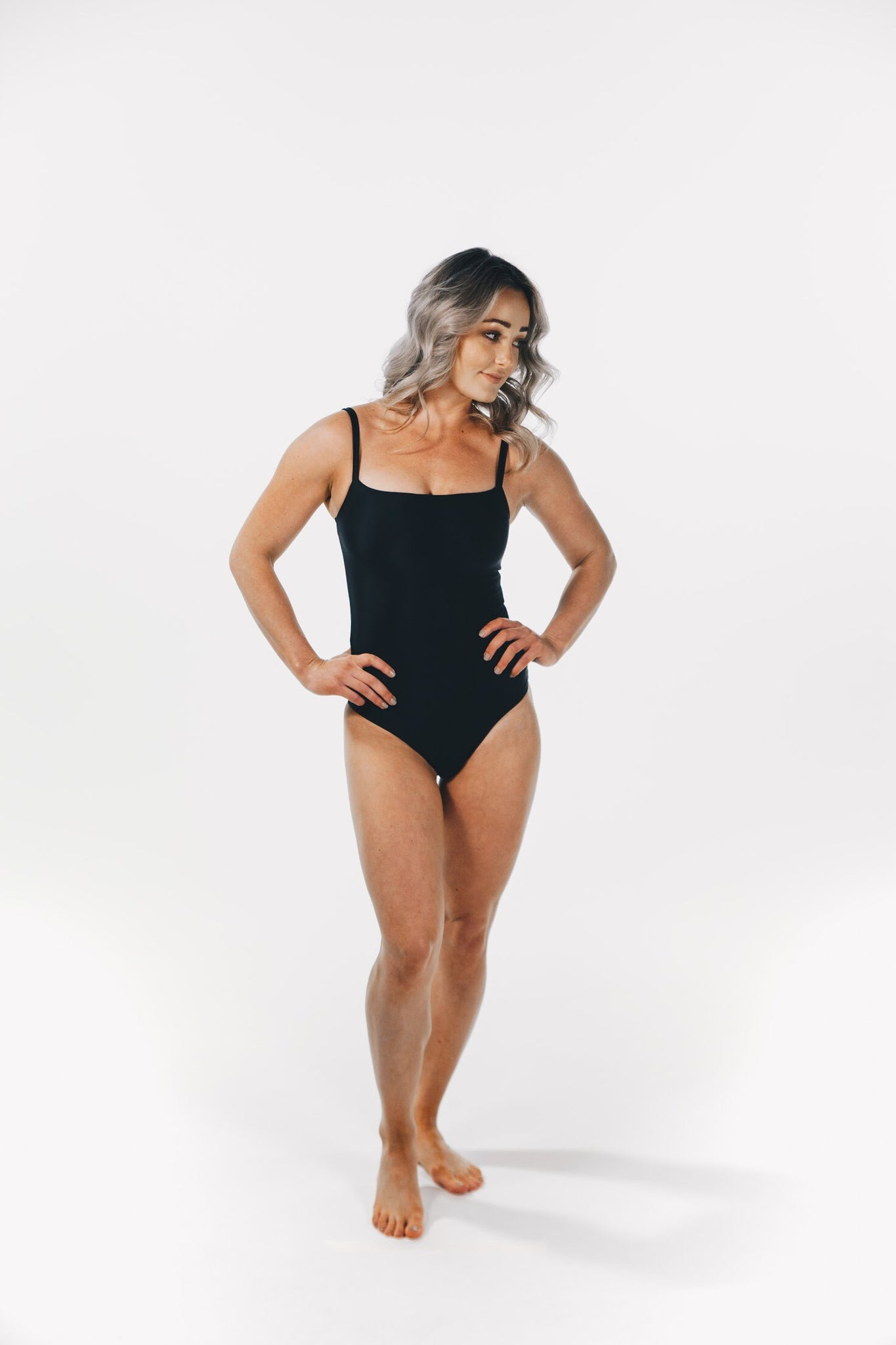 Straight Neck One Piece Black