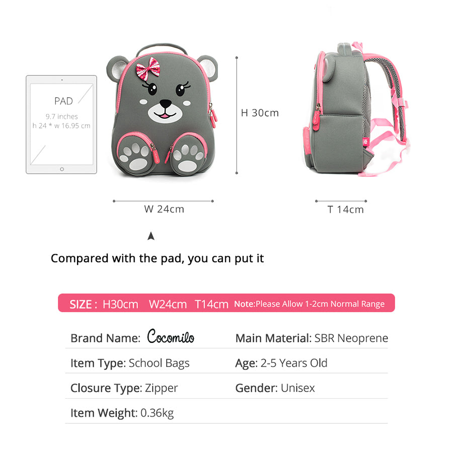 2018 Cocomilo Kindergarten Kids Animal Backpacks Waterproof Schoolbags