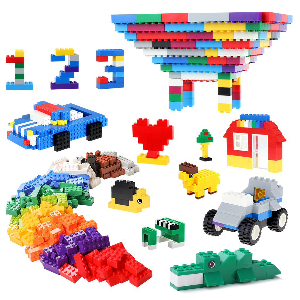 4acc2ff6c88 1000 pcs building blocks 1 bucket container with building plate. A small bag  of gift 1 Assembly instruction