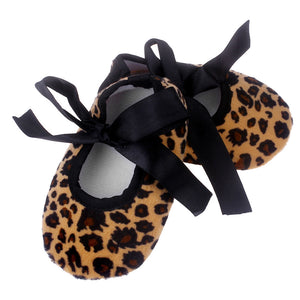 Baby Girls Shoes with Leopard Print Bowknot Cotton Infant Soft Sole Anti-Slip Baby First Walker Toddler Prewalker Newborn Shoes