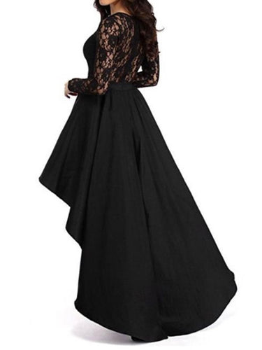 Black Lace Patchwork Asym Women's Maxi Dress
