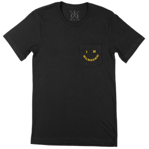 IM BLESSED EMOJI - BLACK POCKET TSHIRT