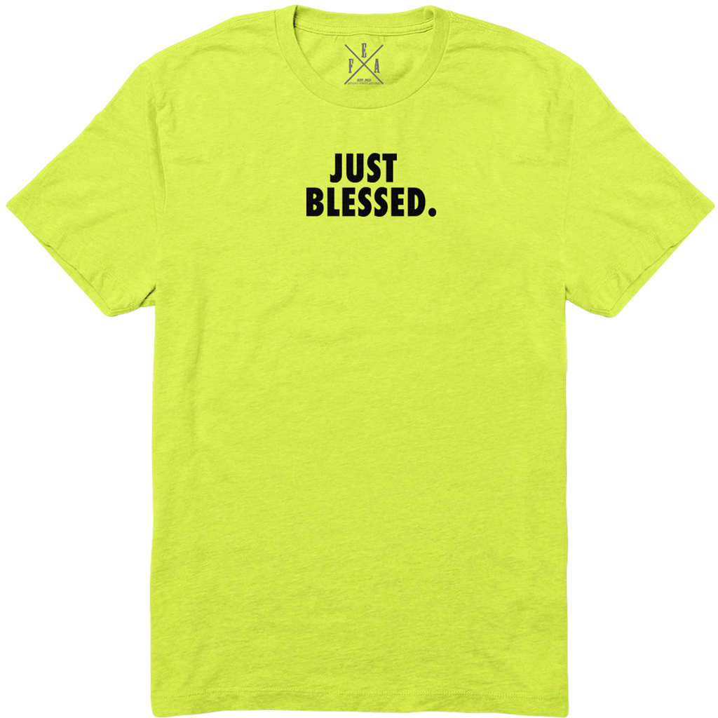 JUST BLESSED  - NEON GREEN  TSHIRT