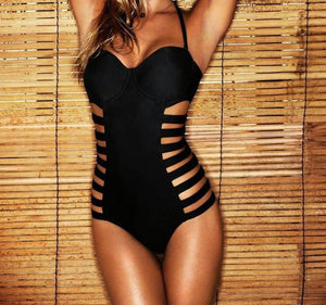 Black Strappy Sides Cut Out Padded Push Up Swimsuit - Hooked On Saving