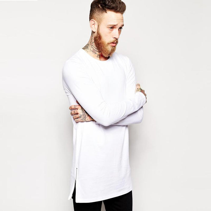 Extra Long Long Sleeve Tee Shirt with Side Zippers for Men