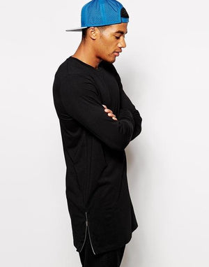 Extra Long Long Sleeve Tee Shirt with Side Zippers for Men - Hooked On Saving