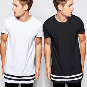 Extra Long Stripped Tee Shirt for Men - Hooked On Saving
