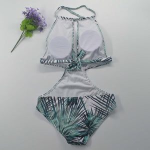 Green Palm Print Cut Out Halter Monokini Swimsuit - Hooked On Saving