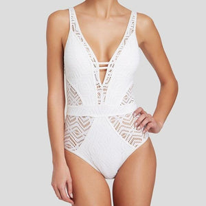 Plunging Deep-V Crochet One-Piece Swimsuit - Hooked On Saving