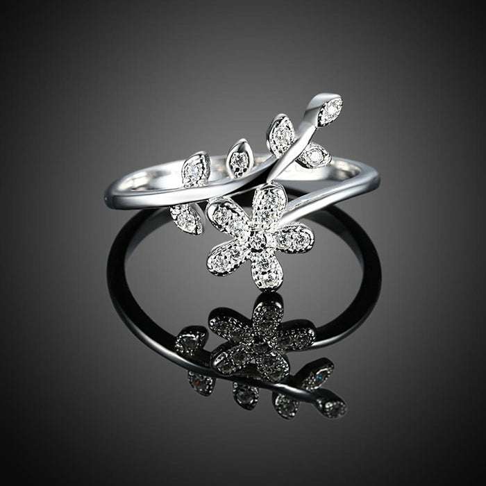 Women Cubic Zircon Sterling Silver Floral Ring
