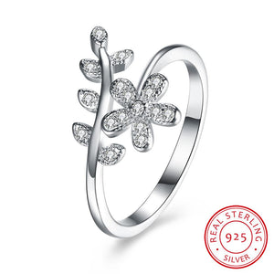 Women Cubic Zircon Sterling Silver Floral Ring - Hooked On Saving