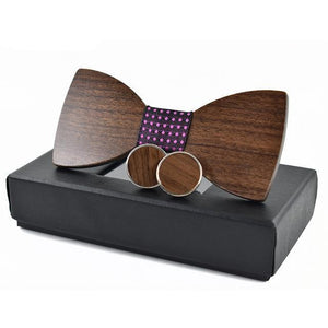 Hand Crafted Wooden Bow-Tie & Cuff-Links Set - Hooked On Saving