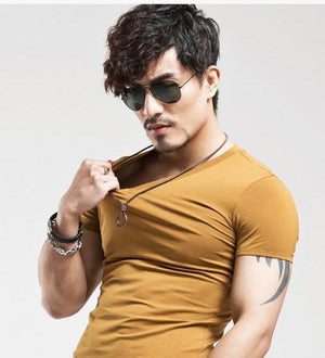 Men Premium Fitted Solid Color Classic Knitted T-Shirt - Hooked On Saving