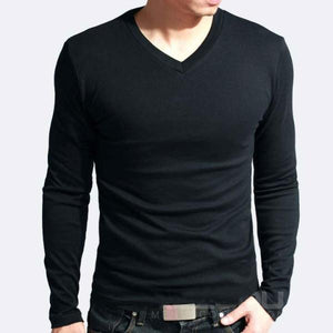 Premium Stretchable Long Sleeve Muscle Tees for Men (V and Crew Necks) - Hooked On Saving