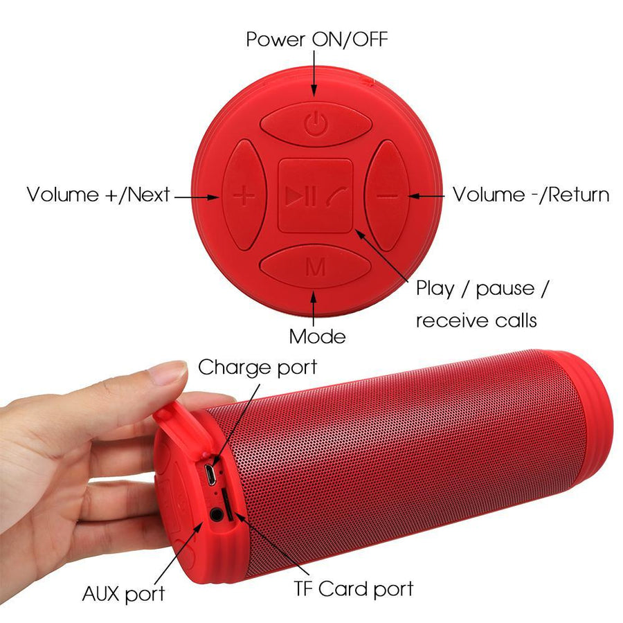 Electronics - 10W Bluetooth Cylindrical Portable Waterproof Speaker