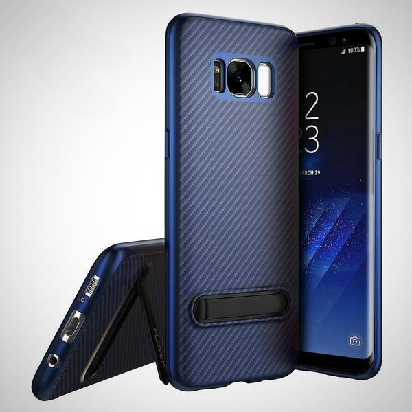 Kickstand Silicone Phone Case With Sleek Carbon Fiber Finish for Samsung Phones