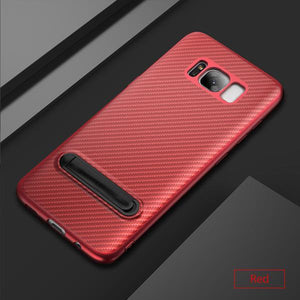 Kickstand Silicone Phone Case With Sleek Carbon Fiber Finish for Samsung Phones - Hooked On Saving