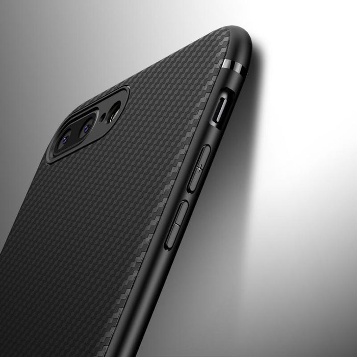 Silicone Phone Case With Sleek Carbon Fiber Finish For iPhone