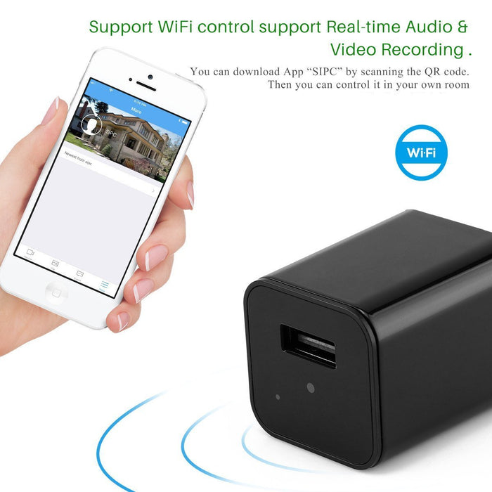 WiFi Invisible Spy Camera & USB Charger- HD 1080P (Memory Card Optional)