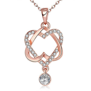18K Rose Gold Plated Intertwined Hearts Necklace - Hooked On Saving