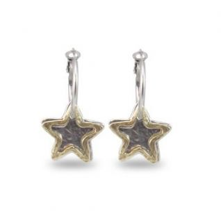 DANON GOLD OR SILVER STAR CHARMS MINI HOOP EARRINGS