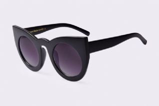 ROUND CAT EYE SUNGLASSES BLACK
