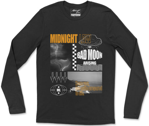 Long Sleeve T-Shirt S / Black Bad Moon Long Sleeve T-Shirt Bad Moon Long Sleeve T-Shirt | Midnight LAW India | Vintage Fashion