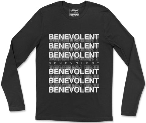 Long Sleeve T-Shirt S / Black Benevolent Long Sleeve T-Shirt Benevolent Long Sleeve T-Shirt  | Midnight LAW India | Vintage Fashion