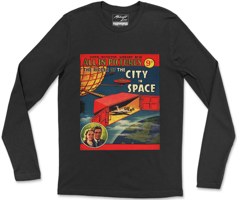 Long Sleeve T-Shirt S / Black City in Space Long Sleeve T-Shirt City in Space Long Sleeve T-Shirt  | Midnight LAW India | Vintage Fashion