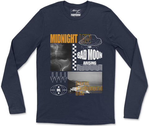 Long Sleeve T-Shirt S / Navy Bad Moon Long Sleeve T-Shirt Bad Moon Long Sleeve T-Shirt | Midnight LAW India | Vintage Fashion