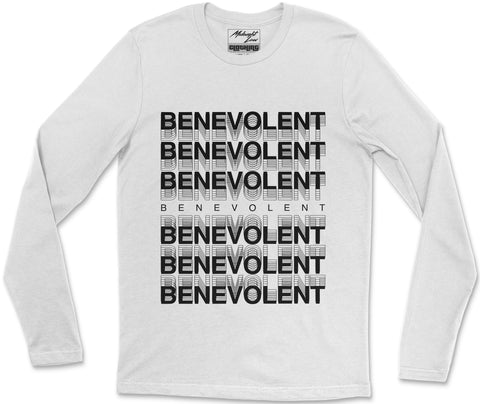 Long Sleeve T-Shirt S / White Benevolent Long Sleeve T-Shirt Benevolent Long Sleeve T-Shirt  | Midnight LAW India | Vintage Fashion