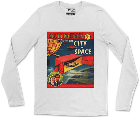 Long Sleeve T-Shirt S / White City in Space Long Sleeve T-Shirt City in Space Long Sleeve T-Shirt  | Midnight LAW India | Vintage Fashion