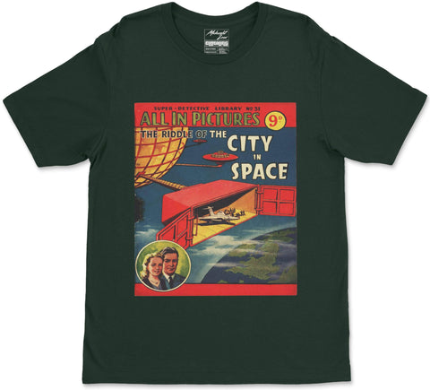 S / Forest Green City in Space T-Shirt City in Space T-Shirt | Midnight LAW India | Vintage Street Fashion