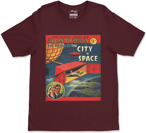 S / Maroon City in Space T-Shirt City in Space T-Shirt | Midnight LAW India | Vintage Street Fashion