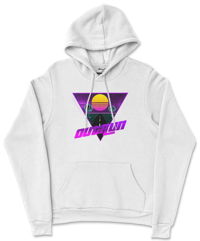 S / White Outrun Hoodie Outrun Hoodie | Midnight LAW Clothing | Aesthetic Streetwear India