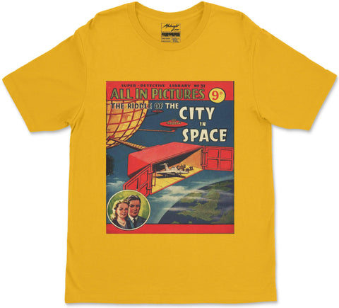 S / Yellow City in Space T-Shirt City in Space T-Shirt | Midnight LAW India | Vintage Street Fashion