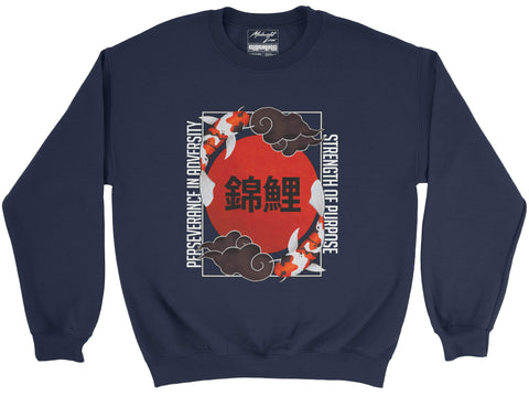 Sweatshirt S / Navy Koi Sweatshirt Koi Sweatshirt | Midnight LAW India | Vintage Street Fashion India