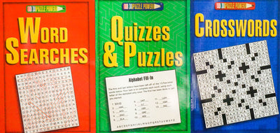 Puzzle Power (3 Books): Crosswords, Word Searches, Quizzes & Puzzles