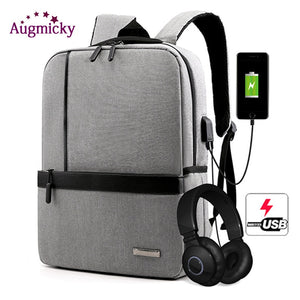 "15.6"" inch USB Charging Headphone cable hole Laptop Backpack Rucksack Male Business Travel Back Pack School Bag Women Mochila"